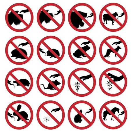 Vector silhouette collection of do not touch and feeding animals mark on white background. Symbol of prohibition.