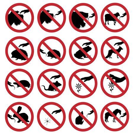 Vektor-Silhouette-Sammlung von Tieren nicht berühren und füttern markieren auf weißem Hintergrund. Symbol des Verbots.