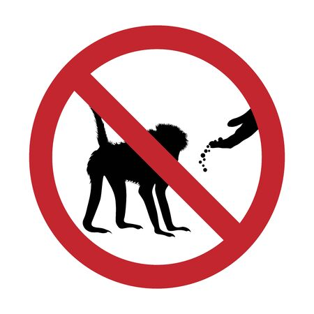 Vector silhouette of do not feeding monkey mark on white background. Symbol of prohibition.