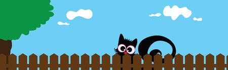 Vector illustration of cat´s face behind the fence. Symbol of curious and home.