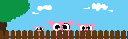Vector illustration of pig�s face behind the fence. Symbol of curious and farm.