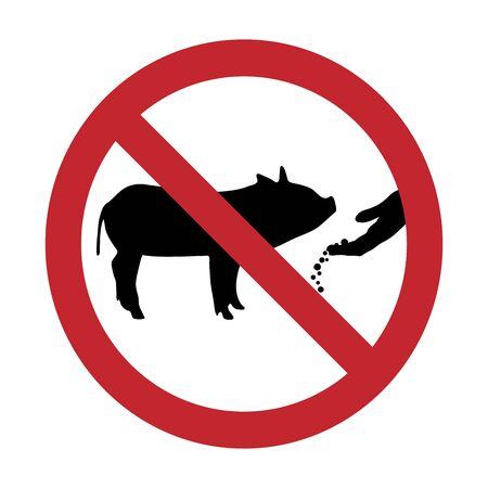 Vector silhouette of do not feeding pig mark on white background. Symbol of prohibition. Vektoros illusztráció