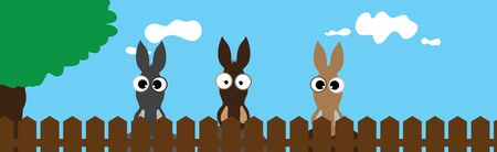 Vector illustration of donkey�s face behind the fence. Symbol of curious and farm.
