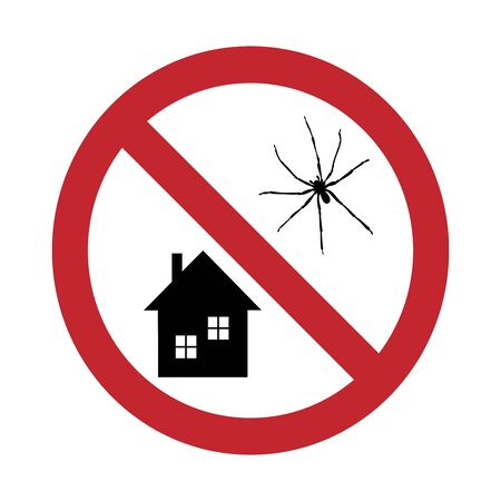 Vector silhouette of no spider at home mark on white background. Symbol of stop annoying insect and infested house. Illustration