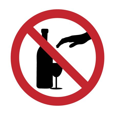 Vector silhouette of do not touch alcohol mark on white background. Symbol of prohibition and danger.
