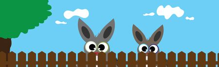 Vector illustration of rabbit´s face behind the fence. Symbol of curious and farm.