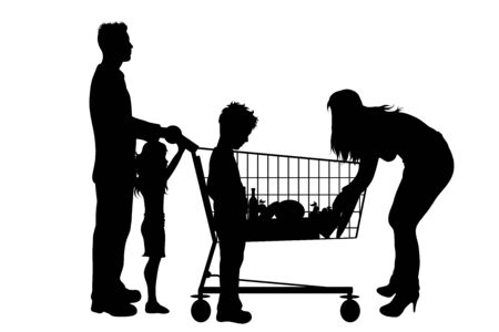 Vector silhouette of family shop to shopping cart on white background. Symbol of shop accessories.