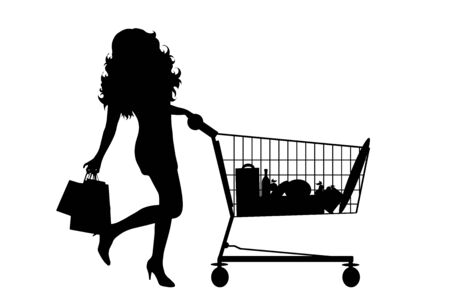 Vector silhouette of woman push shopping cart on white background. Symbol of shop accessories.