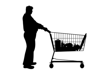 Vector silhouette of obese man push shopping cart on white background. Symbol of shop accessories. Illustration