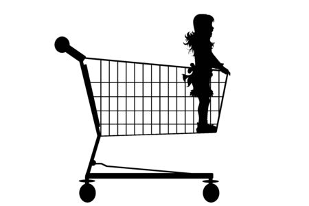 Vector silhouette of child stay inside shopping cart on white background. Symbol of shop accessories.
