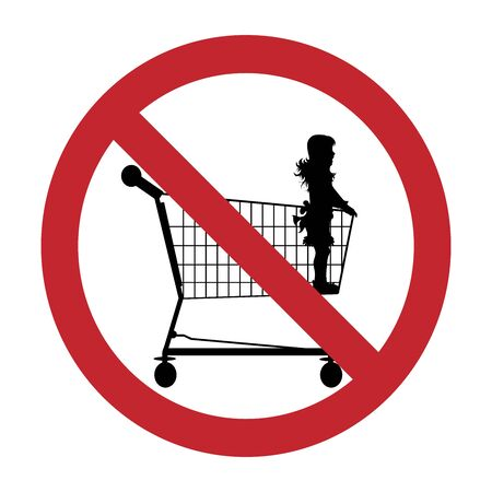 Vector silhouette of do not stay children inside shopping cart on white background. Symbol of prohibition. Reklamní fotografie - 141293787