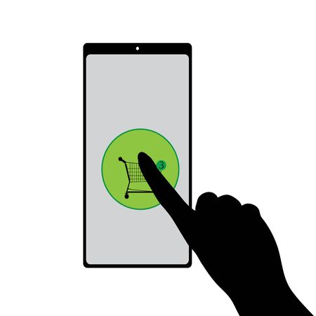 Vector silhouette of online shopping cart in cell phone on white background. Symbol of shop accessories in web.