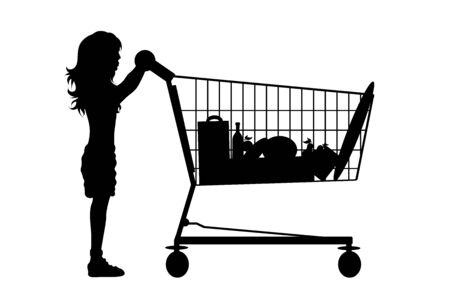 Vector silhouette of girl push shopping cart on white background. Symbol of shop accessories. Reklamní fotografie - 141293796