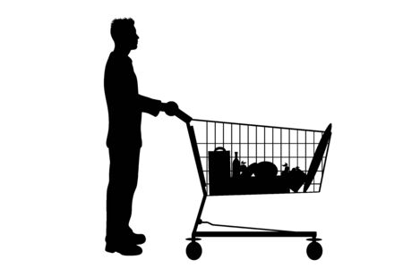 Vector silhouette of man push shopping cart on white background. Symbol of shop accessories.