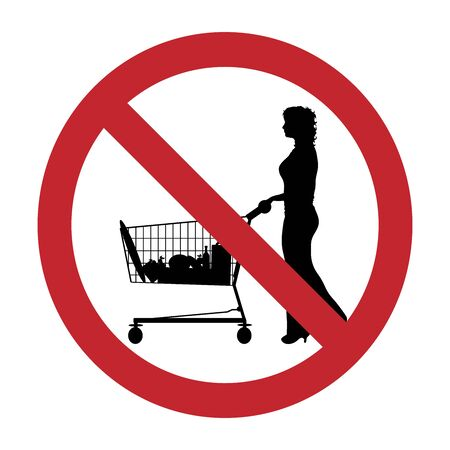 Vector silhouette of do not entrance with shopping cart on white background. Symbol of prohibition.