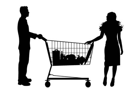 Vector silhouette of couple shop to shopping cart on white background. Symbol of shop accessories.
