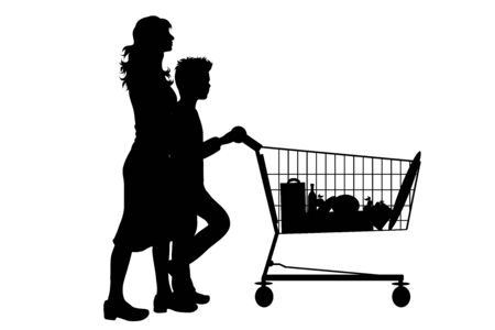 Vector silhouette of woman with son push shopping cart on white background. Symbol of shop accessories. Reklamní fotografie - 141293757