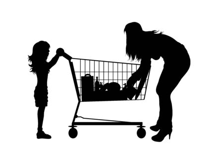 Vector silhouette of woman with daughter push shopping cart on white background. Symbol of shop accessories.