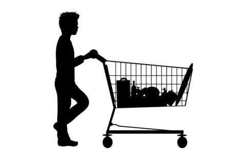 Vector silhouette of boy push shopping cart on white background. Symbol of shop accessories.