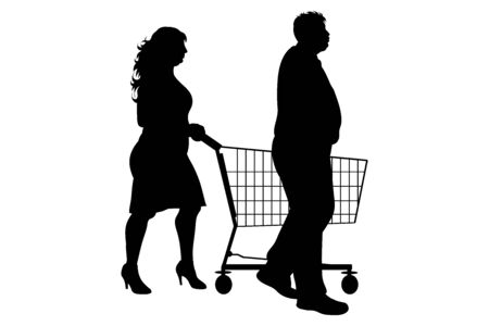 Vector silhouette of obese couple push shopping cart on white background. Symbol of shop accessories. Ilustrace