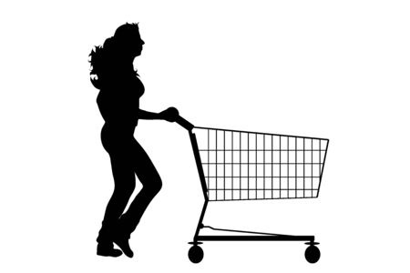 Vector silhouette of woman running and push shopping cart on white background. Symbol of shop accessories and sale. Ilustrace