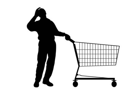 Vector silhouette of stressed man push shopping cart on white background. Symbol of shop accessories.