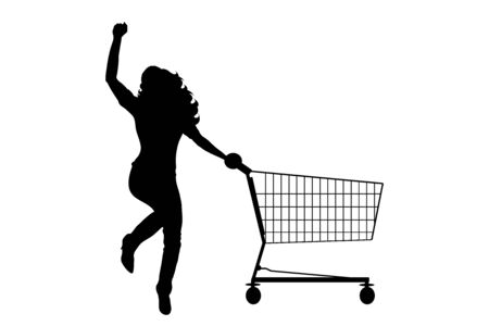 Vector silhouette of happy woman push shopping cart on white background. Symbol of shop accessories and sale.