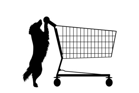 Vector silhouette of dog push shopping cart on white background. Symbol of pet shop accessories and sale.