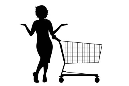 Vector silhouette of woman push shopping cart on white background. Symbol of shop accessories and sale.
