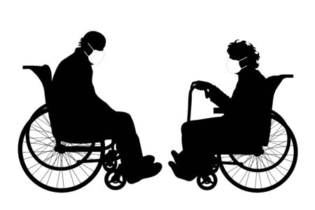 Vector silhouette of anonymous couple sitting on wheelchair with medical mask on white background. Symbol of healthy and sick. Danger of coronavirus.