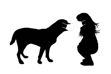 Vector silhouette of anonymous child with dog with medical mask on white background. Symbol of healthy and sick. Danger of coronavirus.