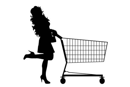 Vector silhouette of woman push shopping cart on white background. Symbol of shop accessories and sale. Ilustrace