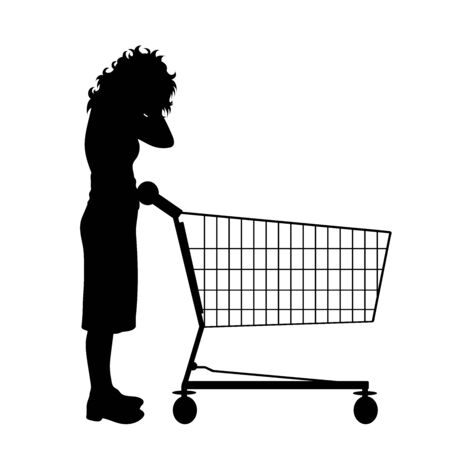 Vector silhouette of stressed woman push shopping cart on white background. Symbol of shop accessories.