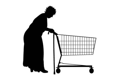 Vector silhouette of senior with stick push shopping cart on white background. Symbol of shop accessories.