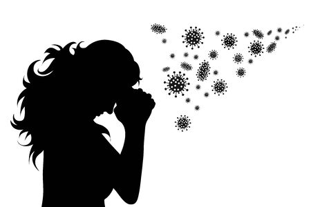 Vector silhouette of woman scary of bacteria and is praying on white background. Symbol of disease and coronavirus. Illusztráció