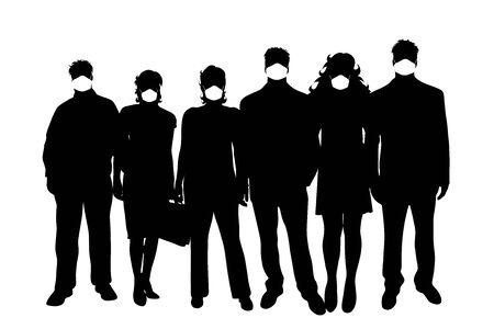Vector silhouette of anonymous group of people with medical mask on white background. Symbol of healthy and sick. Danger of coronavirus.