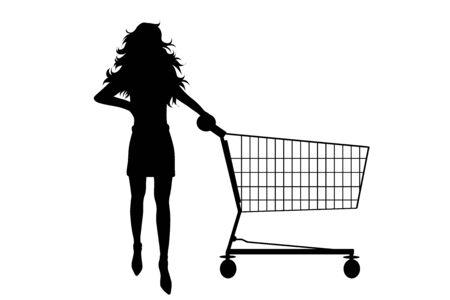 Vector silhouette of woman push shopping cart on white background. Symbol of shop accessories and sale. Illustration