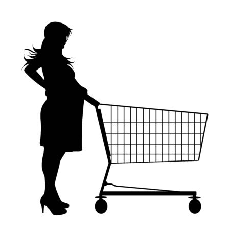 Vector silhouette of pregnant woman push shopping cart on white background. Symbol of shop accessories and sale. Illustration