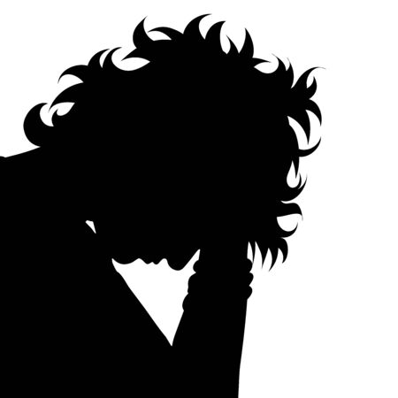 Vector silhouette of anonymous woman in stress on white background. Symbol of people and hopelessness. Illustration