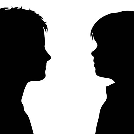 Vector silhouette of anonymous children on white background. Symbol of people and profile.