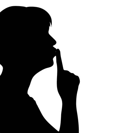 Vector silhouette of anonymous woman with silence gesture on white background. Symbol of people and profile.
