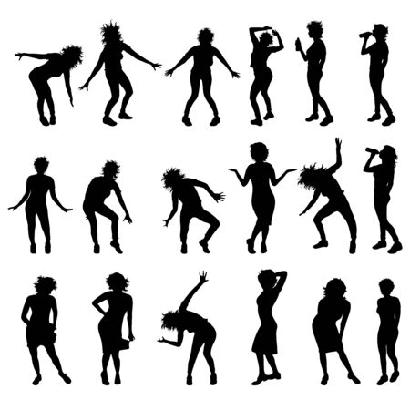 Vector silhouette of collection of dancing women on white background. Symbol of people. 向量圖像