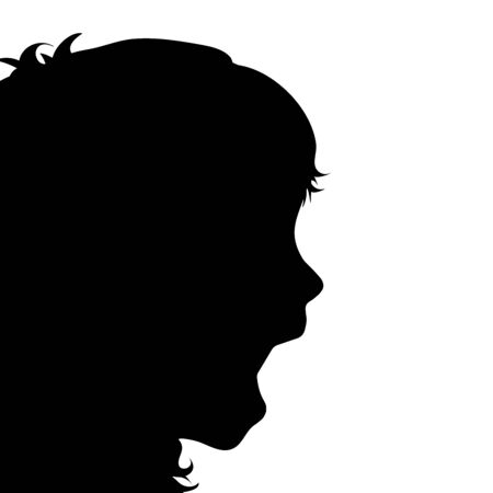 Vector silhouette of scream anonymous child on white background. Symbol of people and fear. 向量圖像