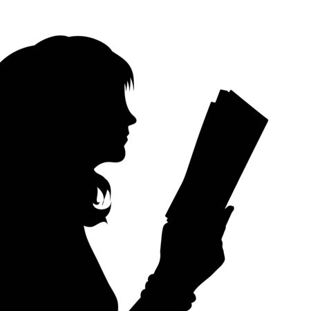 Vector silhouette of anonymous woman who read a book on white background. Symbol of people and study. Vettoriali