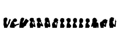 Vector silhouette of collection of women on white background. Symbol of people.