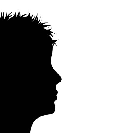 Vector silhouette of anonymous woman on white bakground. Symbol of people and profile.