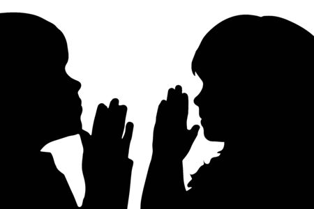 Vector silhouette of anonymous children who pray on white background. Symbol of people and religion.