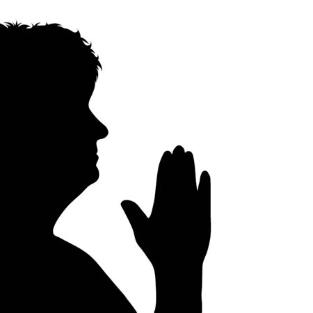 Vector silhouette of anonymous woman who pray on white background. Symbol of people and religion.
