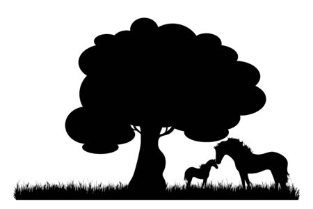 Vector silhouette of family of horse on meadow on white background. Symbol of nature and domestic animals.
