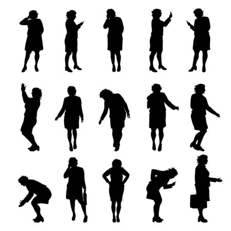 Set of vector silhouette of obese women on white background. Symbol of elderly lady in different pose. Imagens - 142506386